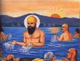 Guru Nanak throwing water towards his farm