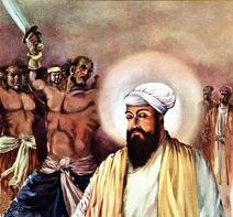 Guru Tegh Bahadur gives his head,