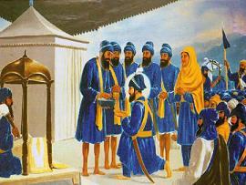 Guru Gobind Singh Ji taking Amrit